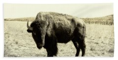 Buffalo In Sepia Beach Towel