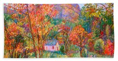 Beach Sheet featuring the painting Buffalo Mountain In Fall by Kendall Kessler