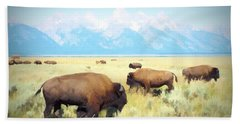 Buffalo Roam, Smokey Grand Tetons, Wyoming Beach Towel