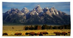 Buffalo Under Tetons Beach Towel
