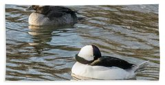 Bufflehead Pair Swimming Beach Sheet