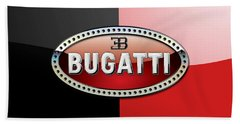 Bugatti 3 D Badge On Red And Black  Beach Towel