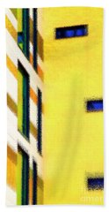 Beach Towel featuring the digital art Building Block - Yellow by Wendy Wilton