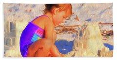 Building Sand Castles Beach Towel