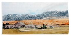Buildings On A Colorado Ranch With Mountain Landscape Beach Sheet by R Kyllo