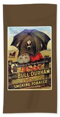 Beach Towel featuring the digital art Bull Durham Smoking Tobacco by ReInVintaged