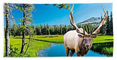 Bull Elk By The Lake Beach Towel