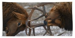 Bull Elk In The Rut-signed Beach Towel