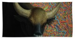 Bull In A Plastic Shop Beach Towel