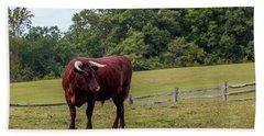 Bull In Field Beach Sheet