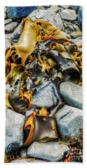 Bull Kelp On Blue Rocks Beach Towel by Lexa Harpell