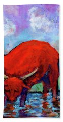 Bull On The River Beach Towel by Maxim Komissarchik