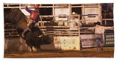 Bull Riding 2 Beach Sheet by Natalie Ortiz