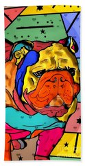 Beach Towel featuring the digital art Bulldog Popart By Nico Bielow by Nico Bielow