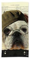 Bulldog Portrait, Animals In Clothes Beach Towel