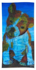 Beach Towel featuring the painting Bulldog Puppy by Donald J Ryker III