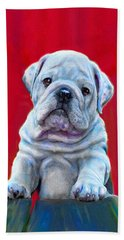 Bulldog Puppy On Red Beach Towel by Jane Schnetlage