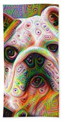 Beach Towel featuring the digital art Bulldog Surreal Deep Dream Image by Matthias Hauser