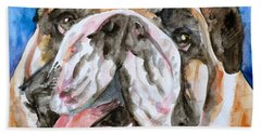 Beach Towel featuring the painting Bulldog - Watercolor Portrait.3 by Fabrizio Cassetta