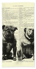 Bulldogs, Two Dogs Sitting Black And White Vintage Illustration Beach Towel