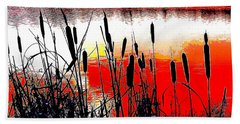Bullrushes Against The Sunset Beach Towel