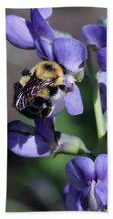Bumble Bee, Blue Indigo Beach Towel