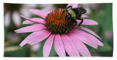 Bumble Bee On Pink Cone Flower Beach Sheet by Sheila Brown
