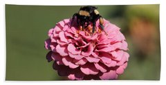 Bumble Bee On Zinnia 2649 Beach Towel