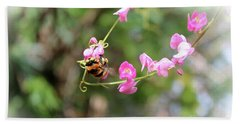 Beach Towel featuring the photograph Bumble Bee2 by Megan Dirsa-DuBois