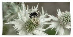 Bumblebee On Thistle Flower Beach Towel
