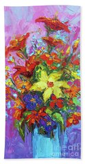 Colorful Wildflowers, Abstract Floral Art Beach Towel