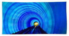 Beach Towel featuring the photograph Bund Tunnel Lights by Angela DeFrias