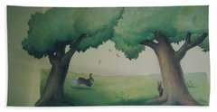 Bunnies Running Under Trees Beach Towel