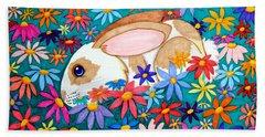 Bunny And Flowers Beach Towel by Nick Gustafson