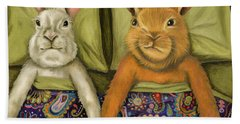 Beach Towel featuring the painting Bunny Love by Leah Saulnier The Painting Maniac