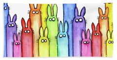 Bunny Rainbow Pattern Beach Towel by Olga Shvartsur