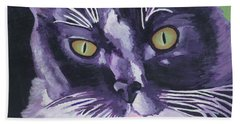 Tuxedo Black And White Cat Beach Towel