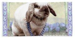 Bunny Wears Beads Beach Towel