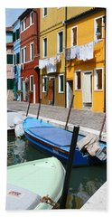 Burano Corner With Laundry Beach Sheet
