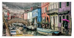 Burano In The Rain Beach Sheet by Brian Tarr