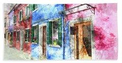 Burano Italy Buildings Beach Towel