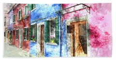 Burano Italy Buildings Beach Towel