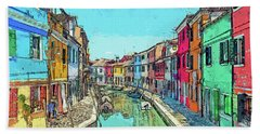 Burano Sketch Beach Sheet