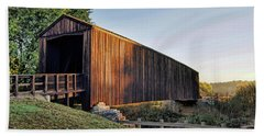 Beach Towel featuring the photograph Burfordville Covered Bridge by Cricket Hackmann