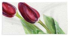 Burgundy Tulips Beach Towel