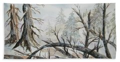 Beach Towel featuring the painting Burned Forest In The Snow by Ellen Levinson