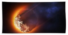 Burning Asteroid Entering The Atmoshere Beach Towel
