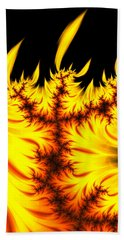 Beach Towel featuring the digital art Burning Fractal Flames Warm Yellow And Orange by Matthias Hauser
