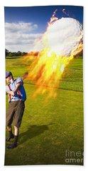 Burning Golf Ball Beach Towel