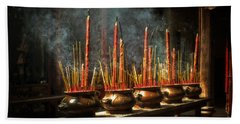 Beach Towel featuring the photograph Burning Incense by Lucinda Walter